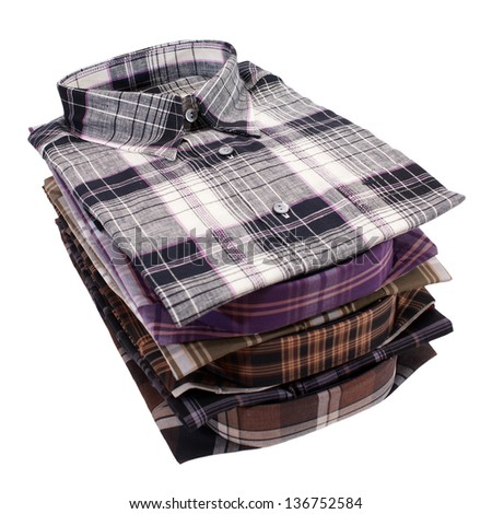 Casual men's shirt with a checked pattern - stock photo