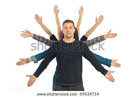 Casual mid adult man with his friends hands behind him concept of friendship isolated on white background - stock photo