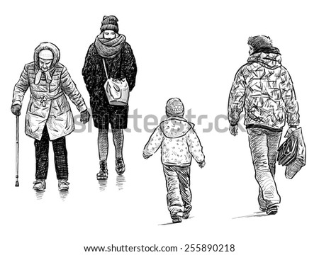 casual passers - stock photo