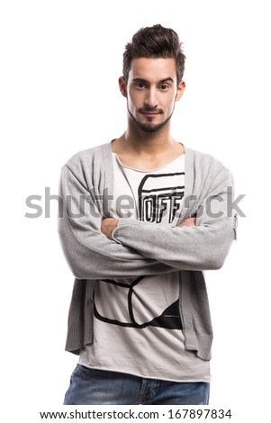 Casual portrait of a hansdome young man, isolated over a white background - stock photo
