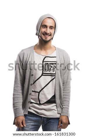 Casual portrait of a hansdome young man smiling, isolated over a white background - stock photo