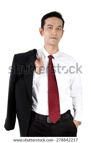 Casual pose of young Asian businessman in suit, isolated on white background