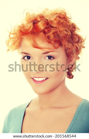 Casual red head woman portrait.
