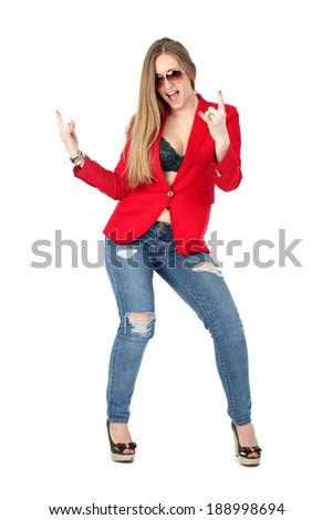 Casual sexy woman in red coat smiling isolated on white background