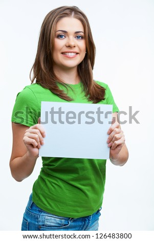Casual style smiling  woman portrait show blank card.