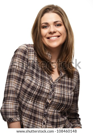 Casual style woman portrait. Isolated on white background - stock photo