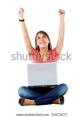 casual success girl on a laptop isolated over a white background