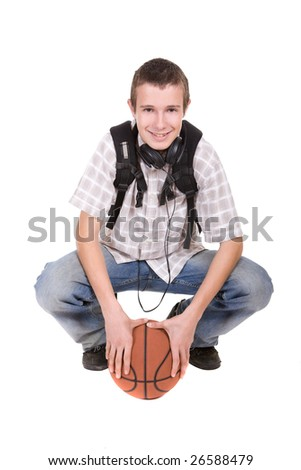 casual teenager ready to school with basketball - stock photo