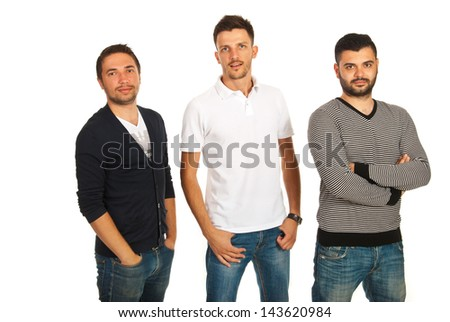 Casual three friends men isolated on white background - stock photo