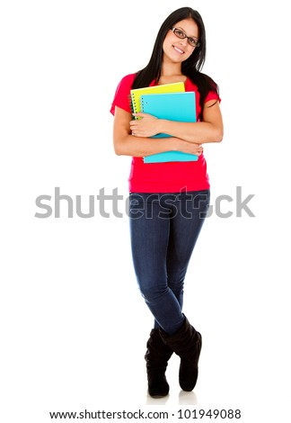 Casual woman carrying notebooks - isolated over a white background - stock photo