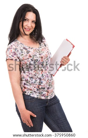 Casual woman holding clipboard isolated on white background - stock photo