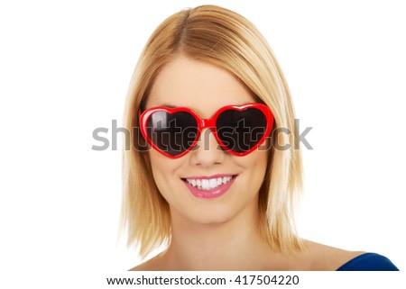 Casual woman in sunglasses. - stock photo