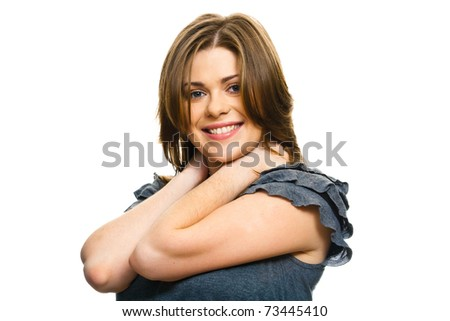 Casual woman portrait on white background isolated. Smiling and happy, arms crossed