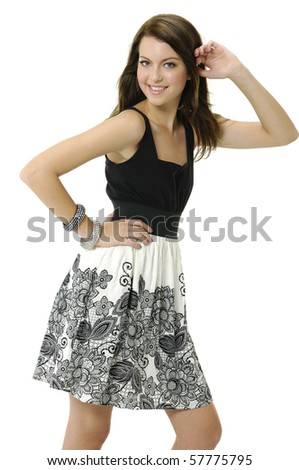 Casual woman portrait over a white background - stock photo