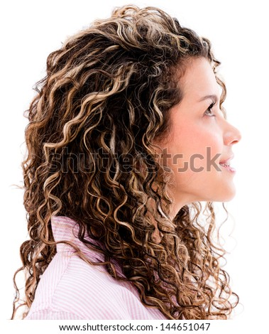 Casual woman profile looking up - isolated over a white background