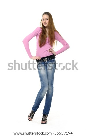 casual woman smiling isolated - stock photo