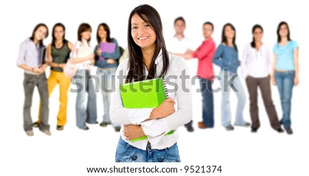 Casual woman with a group of college students smiling - isolated over a white background - stock photo