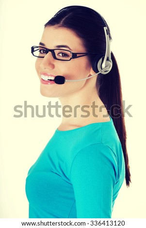 Casual woman with microphone and headphones - stock photo