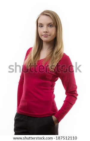 casual women standing taking in the studio against a white background