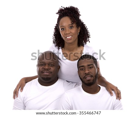 casual young black family on white isolated background