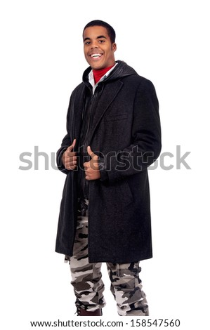 Casual young black man isolated in white