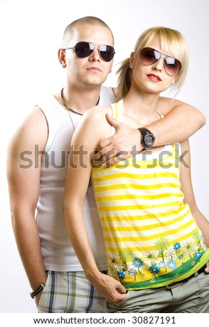 casual young couple with sunglasses