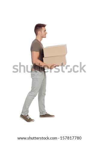 Casual young man carrying boxes isolated on a white background - stock photo
