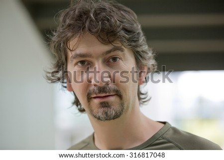 casual young man close up portrait - stock photo
