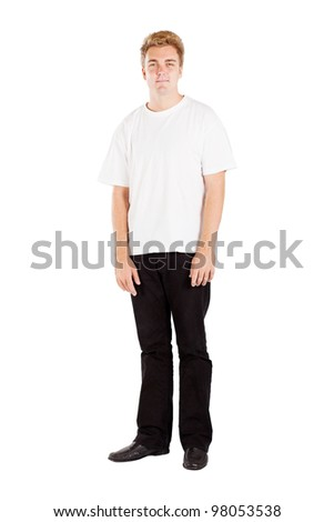 casual young man full length portrait isolated on white - stock photo