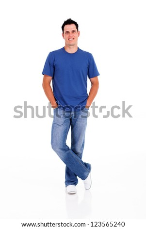 casual young man hands in pocket on white - stock photo