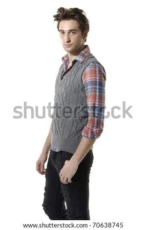 casual young man in colorful shirt looking at camera