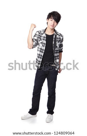 Casual young man in full body and show his fist isolated on white background, asian model - stock photo