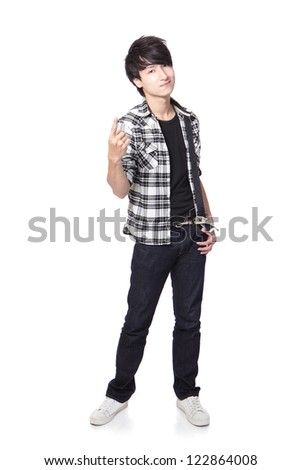 Casual young man in full body isolated on white background, asian model