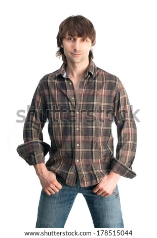 Casual young man in plaid shirt isolated on white background