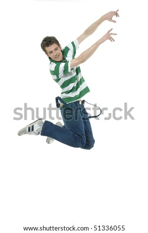casual young man jumping