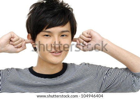 casual  young man relaxing hand gesture - stock photo