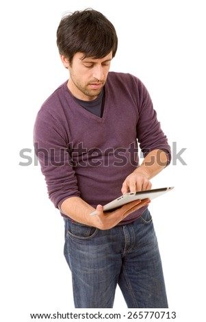 Casual young man using digital tablet isolated on white background
