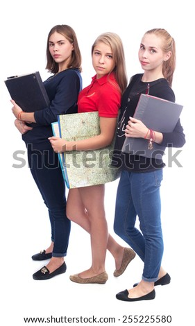 Casual young people holding map and folders isolated on white