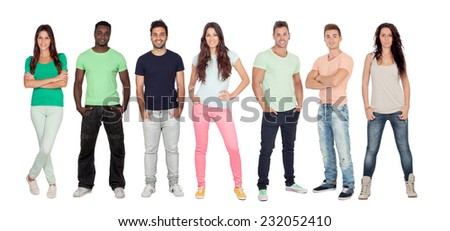 Casual young people isolated on a white background