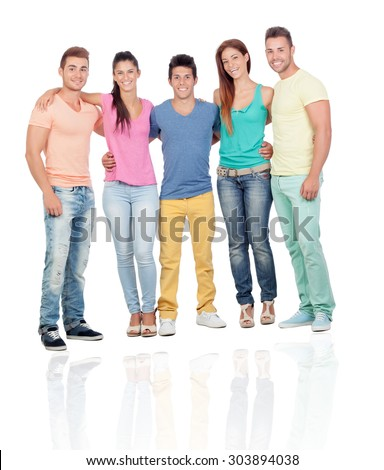 Casual young people isolated on a white background with reflection on the floor - stock photo