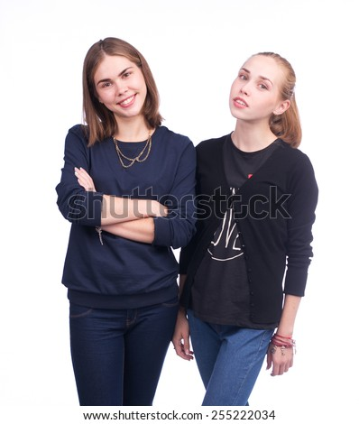 Casual young people posing isolated on white
