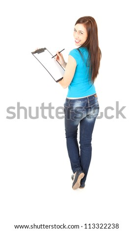 casual young student woman with clipboard and pen, full length, white background - stock photo