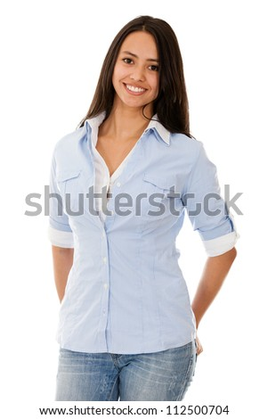 Casual young woman smiling - isolated over a white background - stock photo