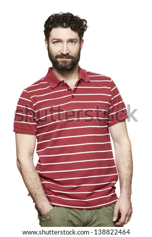 Casually dressed man pensive on white background