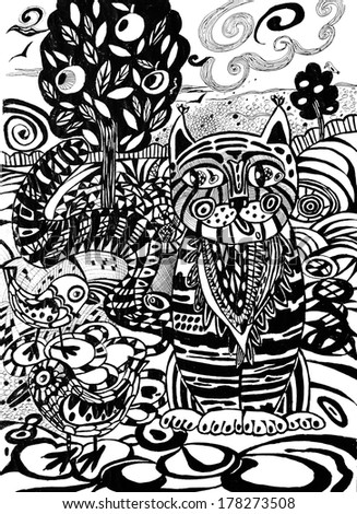 Cat abstract drawn pattern