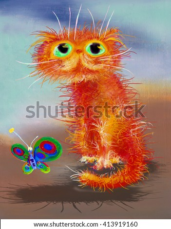 Cat and butterfly - stock photo
