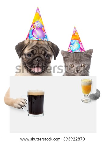 Cat and dog in birthday hats holding beer and cocktail peeking from behind empty board. isolated on white background - stock photo