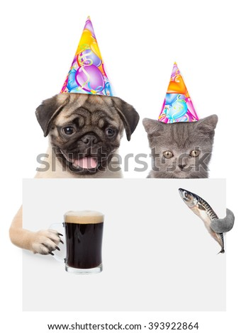 Cat and dog in birthday hats holding fish and beer peeking from behind empty board. isolated on white background - stock photo