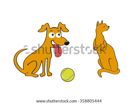 Cat and dog. Play with me! Friends or enemies? Throw me the ball! Cartoon character cat and dog. Illustration of a cat and dog. White background with a cat and a dog. Animal play. Funny illustration - stock photo