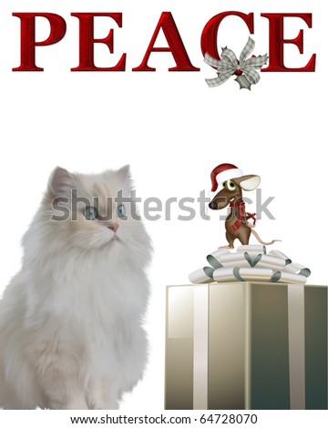 Cat and mouse with Santa hat isolated on white background. - stock photo